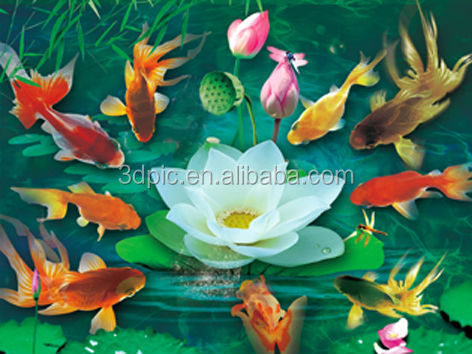 3d lenticular print hologram golden fish+lotus elegant advertisement poster multi-style customized PET tridimension hot-sale
