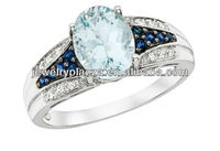 2013 Unique 10k Gold Plated Sky Blue Topaz Ring,Fashion Sterling Silver Rings Jewelry