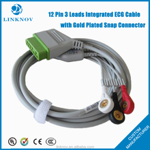 12 Pin 3 Leads Integrated ECG Cable with Gold Plated Snap Connector