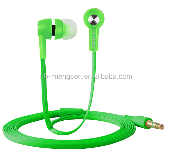 Earphone Handsfree for Mobile Phones with 3.5mm Jack Earphone with MIC Flat Cable Earphone