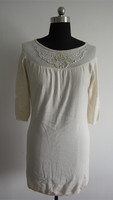 Ladies white loose short sleeve knitted dresses