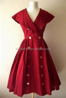 Red Color Retro Style Women Swing Dress