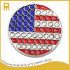 Custom USA flag crystal golf ball markers with blister card packing