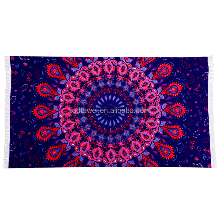 China supplier wholesale cheap price large printed fabric mandala rectangle microfiber beach <strong>towel</strong>