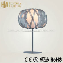 Hot sale ultra thin ceramic table lamp red UL approvalacrylic shade and chromed iron boby