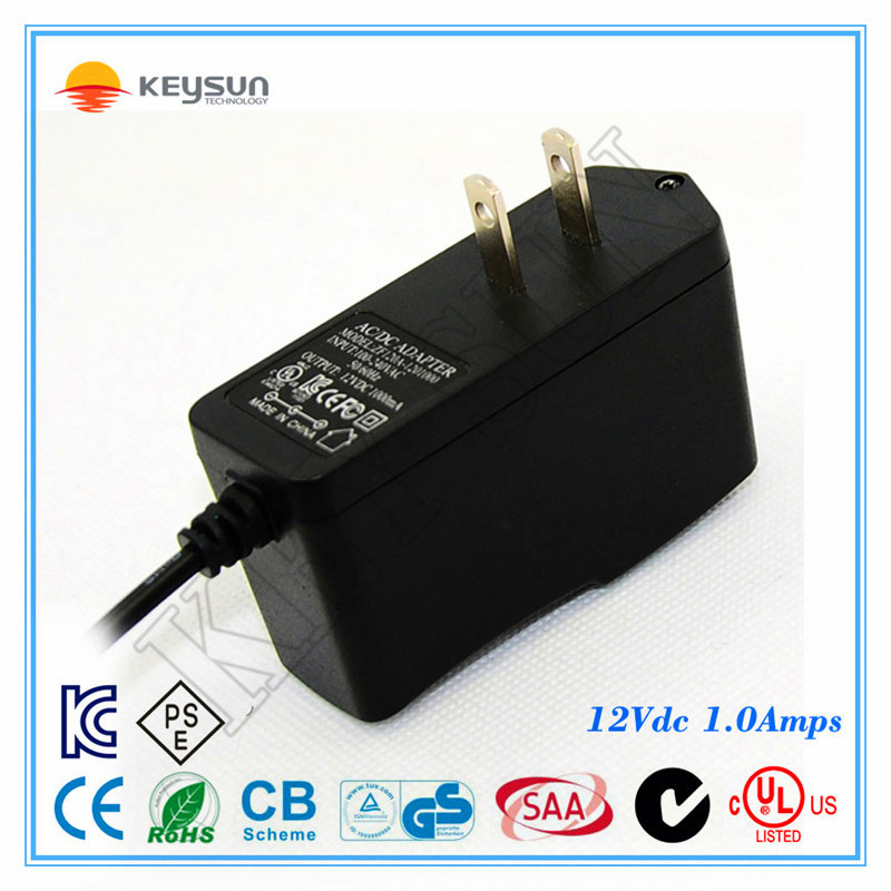 12v 1000ma switching power adaptor 12V power supplies 12Volt 1 Amp acdc adapters with 3 meter cord