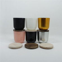 Small Glass Candle Holder Votive With Wood Lid Multicolor Glass Candle Holder For Home Decoration