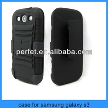 BLACK RUGGED HEAVY DUTY CASE FOR SAMSUNG GALAXY S3 CASE FOR S3 WITH BELT CLIP HOLSTER KICKSTAND(PT-S3201)