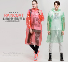 Adult PE plastic disposable lightweight rain coat