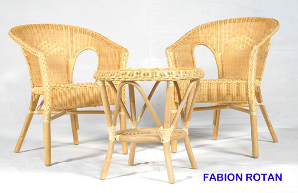 Fabion Natural Rattan Chair and Table set