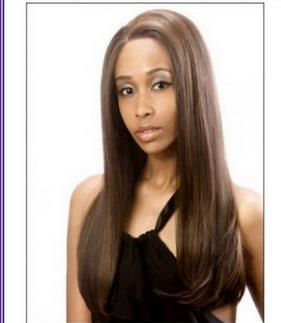 14 Inch Silky Straight Medim Auburn Highlight Lace Front Wig