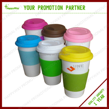 ceramic coffee mug with silicon lid and handle MOQ 100 PCS 0303003