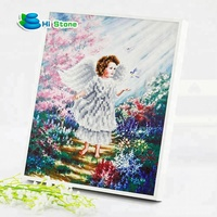 House decoration angel girl wooden frame 5d diamond painting