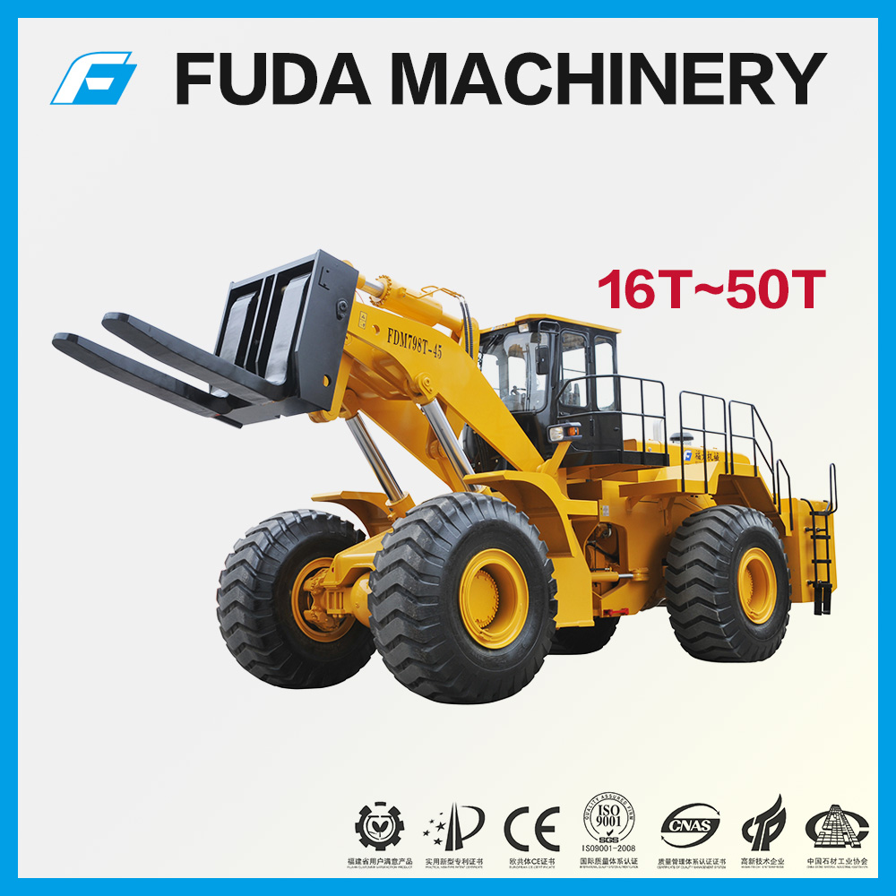 16 - 50 ton granite marble quarry stone block handling forklift wheel loader