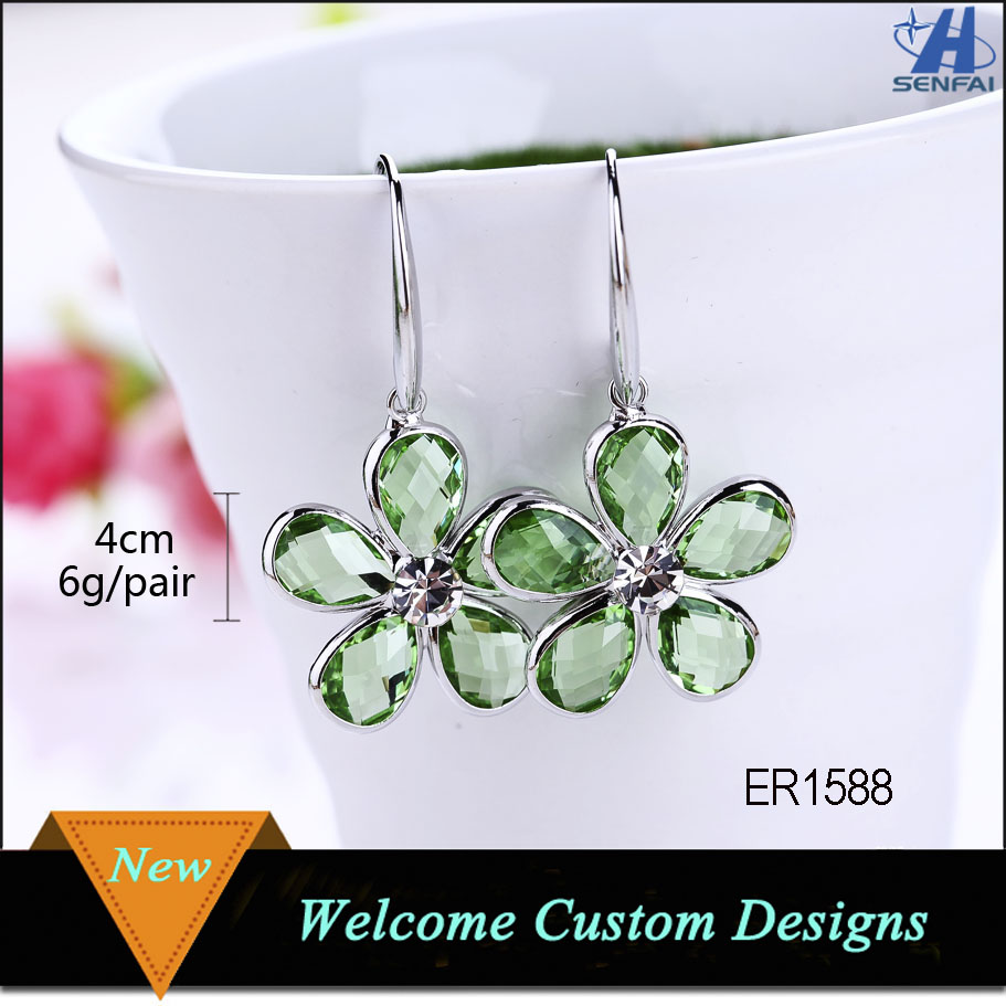 Custom Rhinestone Designs Wholesale Zinc Alloy Silver Plating Fashion Crystal Drop Earrings