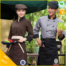 High quality restaurant chef coat uniform, hotel french chef uniform, modern hotel uniforms