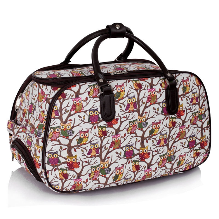 Hot selling owl print travel duffel bag with trolley