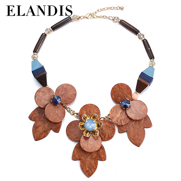 E-ELANDIS Colorful acrylic flat beads with plating gold beads rounded charm necklace NL13585