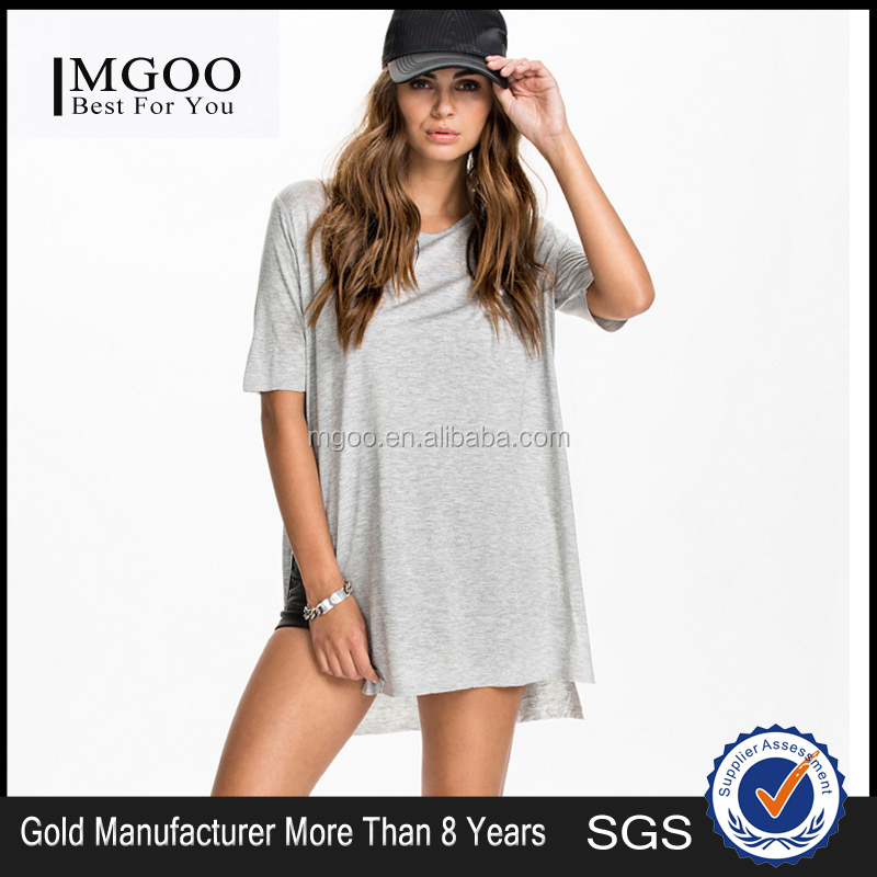 MGOO New Arrival 2016 Plain Viscose Grey Tees For Young Girl Cotton Loose Split Casual Tops 507238484