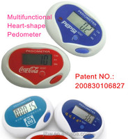 Medical novelty gifts Multifunctional heart-shape pedometer stop watch