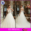 EDW647 Fashion Ball Gown Tulle Crystal Cap Sleeve Wedding Dres with Chapel Train