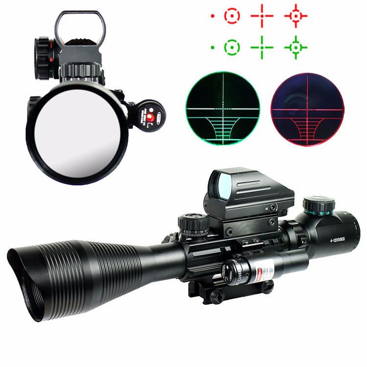 Tactical 4-12X50EG Scope 20mm Rail Holographic Red Laser Military Shooting Scopes