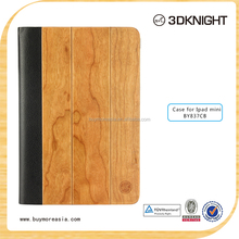 wood leather stand case for ipad Mini,for apple ipad mini pu cover