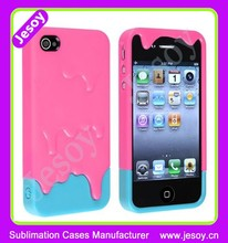 JESOY High Quality 3D Melt Ice Cream Skin Hard Case, Pink Color Phone Case For iphone 4