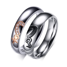 2016 The New Trending Hot Products Stainless Steel Diamond Lovers Ring
