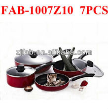 Cheap and Discount Red Painting 7PCS Aluminium Non-stick Cookware Set