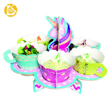 Wedding Paper Cake Stand Created Rotating Cups Matching Baking Cups Colorful Party Cupcakes Cake Stand
