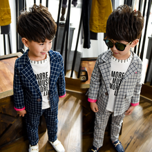 Korean style fashion design autumn boys jackets and pants plaid two piece pattern clothing sets for children