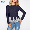 Embroidered Mesh Applique Peplum Fashion Women Tops