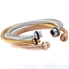 Factory Price Stainless Steel Mixed Color Men's Magnetic Cuff Bangle Bracelet