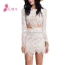 women Long Sleeve two piece set lace dress with asymmetric hem
