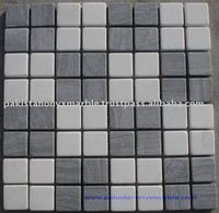 SILKY BLACK AND SUPER WHITE MOSAIC TILES