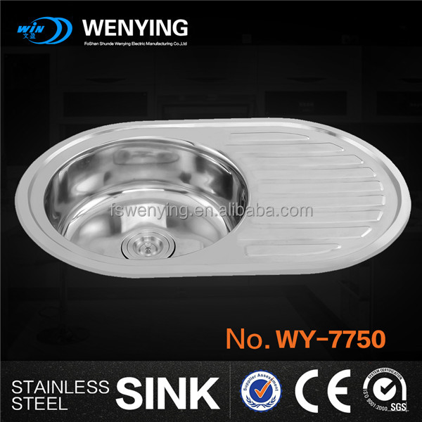 WY-7750 round bowl with drainboard sink for modular kitchen furniture in Ruaaian market in 2015