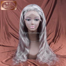 2017 New Arrival top grade Silk Straight silver grey full lace human hair wig brazilian hair wigs