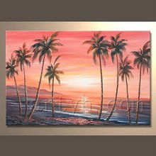 New Product handmade cheaper Seaside canvas oil painting for Home decoration