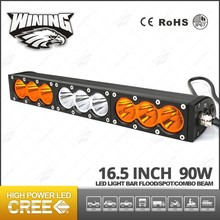 Single Row 16.5 Inch 90W Car Led Light Bar 4WD 4x4 FLOOD/SPOT Led Light Bar Amber White Dual Color Offroad Lights