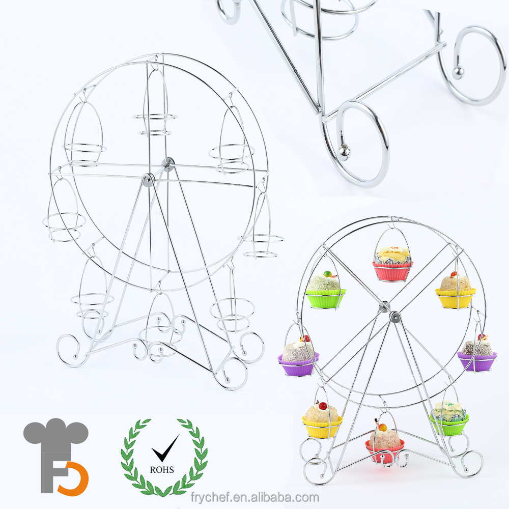 8 Cup Metal Rotating Ferris Wheel Cupcake Dessert Stand Holder