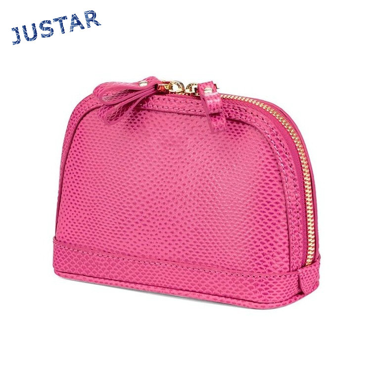 Best Selling Dual Metal Zipper High Quality Pink PU Leather Elegant Cosmetic Bag with Metal Gold Zip