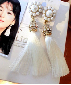 Wholesale fancy cotton tassel earring alibaba express high quality ladies earring