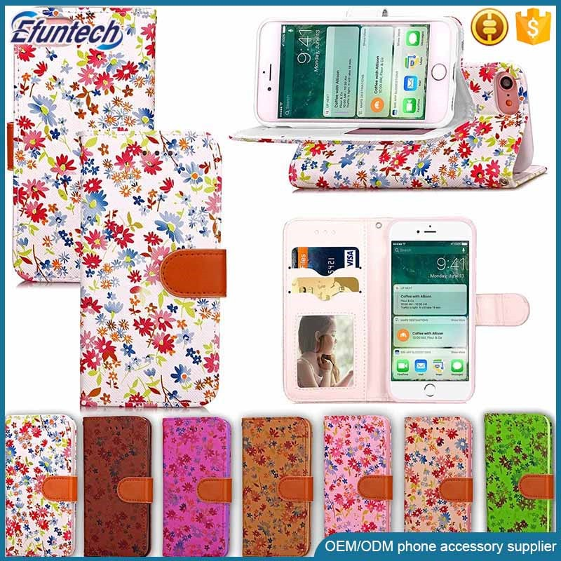 Drop shipping phone case beautiful flower wallet cell phone cover for iphone 7 plus