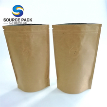 wholesale gravure printing stand up AL foil craft <strong>paper</strong> bag for coffee packaging with valve