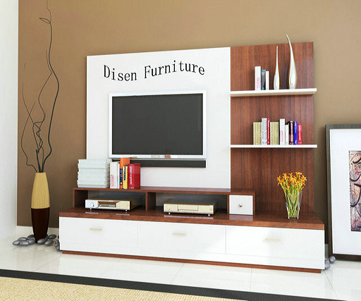 Entertainment White panel wood TV wall unit modern design TV sets