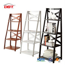 Ladder Book Shelf 5 Tier Leaning Wall Home Office Bedroom Storage