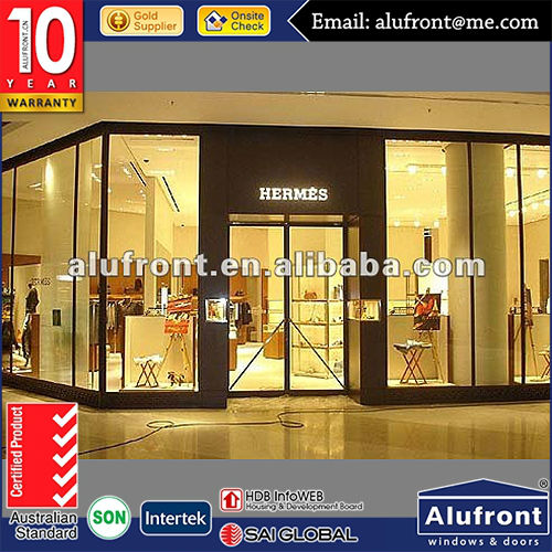 Aluminum Glass Shop Front for commercial