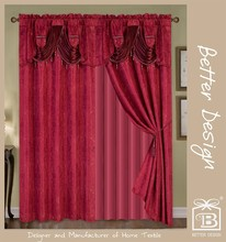 Betterdesign 10 minites Replied Polyester Burgundy 2 PCS Jacquard Luxury Room Blackout Curtain With Valance