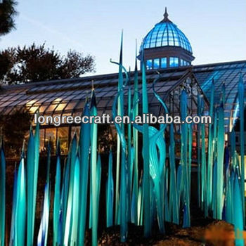 Light Blue Glass Sculpture Interior Decoration